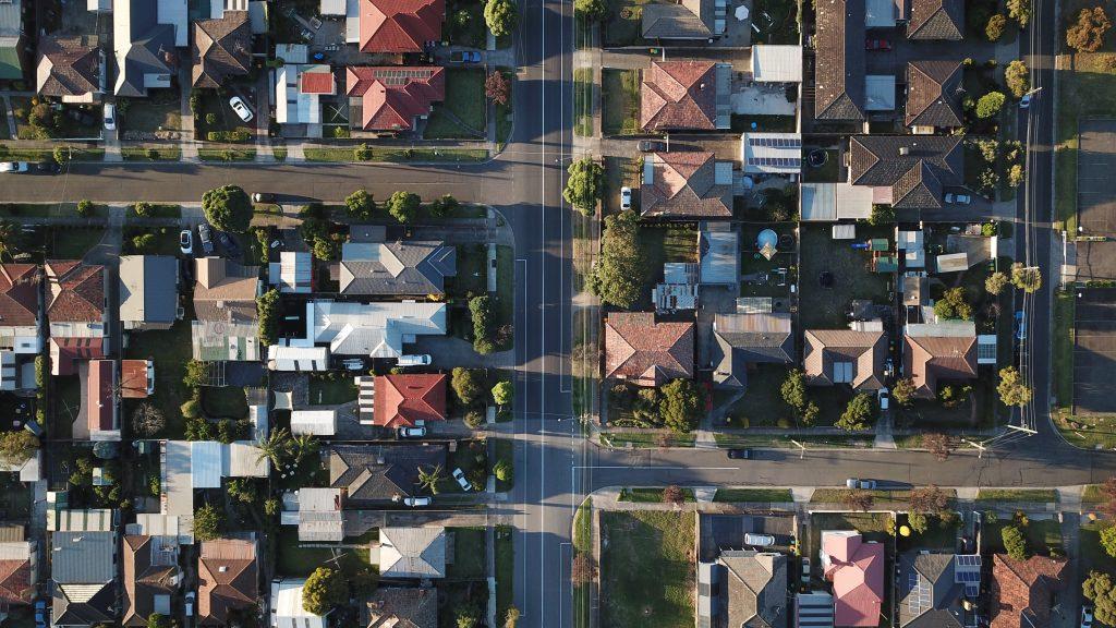 Vue aérienne d'un lotissement